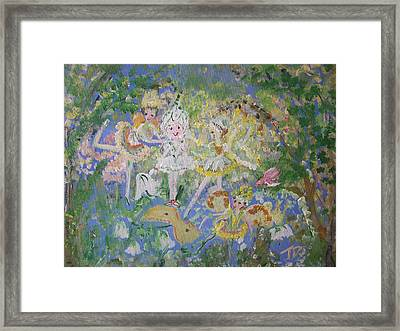 Framed Print featuring the painting Snowdrop The Fairy And Friends by Judith Desrosiers