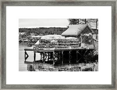 Snowed In Lobstering Framed Print by Olivier Le Queinec