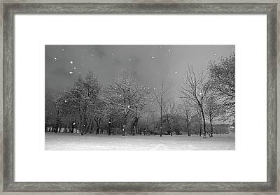 Snowfall At Night Framed Print by Mark Watson (kalimistuk)