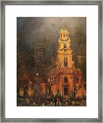 Snowfall In Cathedral Square - Milwaukee Framed Print by Tom Shropshire