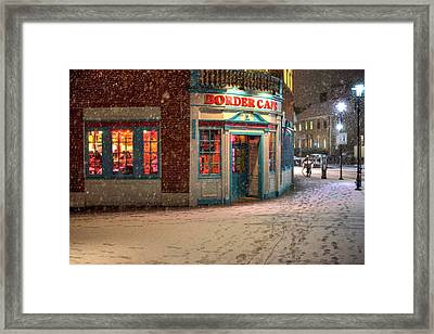 Snowfall In Harvard Square Cambridge Ma Border Cafe Framed Print by Toby McGuire