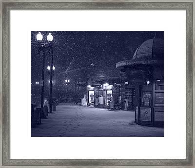 Snowfall In Harvard Square Cambridge Ma Kiosk Monochrome Blue Framed Print