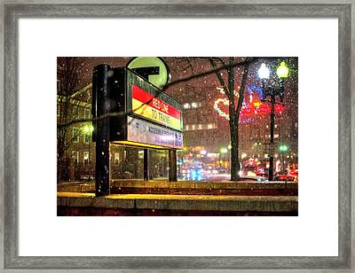 Snowfall In Harvard Square Cambridge Ma Red Line Mbta Framed Print by Toby McGuire