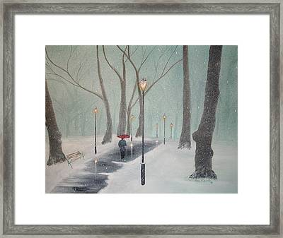 Snowfall In The Park Framed Print