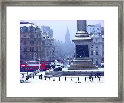 Snowfall Invades London Framed Print by Christopher Robin