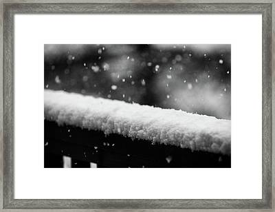 Snowfall On The Handrail Framed Print by Jason Coward