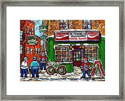 Snowfall Street Hockey Arena Bakery Montreal Memories Coca Cola Sign Original Winter Scene For Sale Framed Print