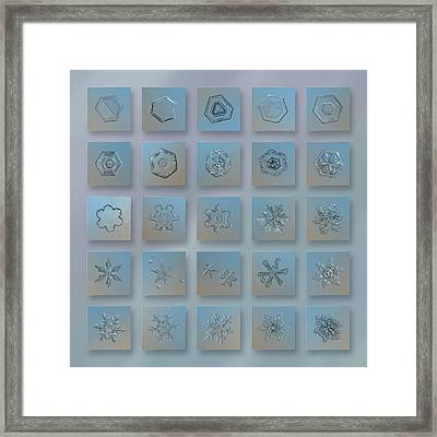 Framed Print featuring the photograph Snowflake Collage - Season 2013 Bright Crystals by Alexey Kljatov