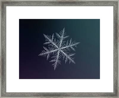 Framed Print featuring the photograph Snowflake Photo - Neon by Alexey Kljatov