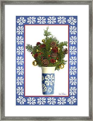 Framed Print featuring the digital art Snowflake Vase With Christmas Regalia by Lise Winne