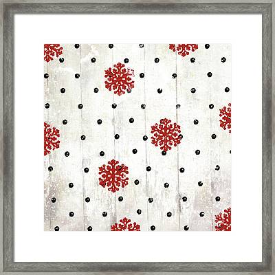 Snowflakes And Polka Dots Pattern Framed Print by Mindy Sommers