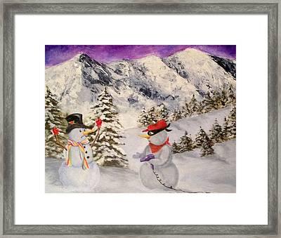 Snowie Hold-up Framed Print