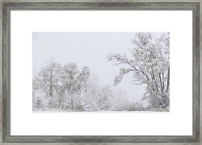 Snowing In A Starbucks Parking Lot Framed Print
