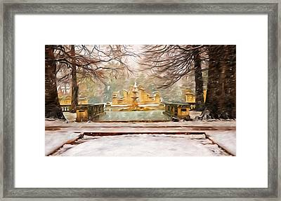 Snowing In Tower Grove Park Framed Print by Steven  Michael