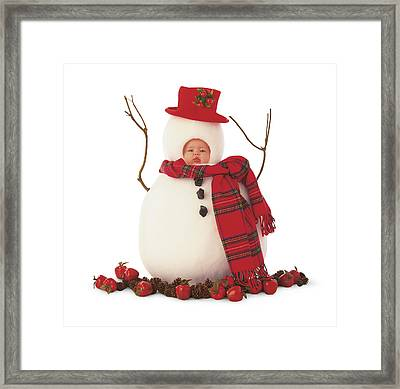 Snowman Framed Print by Anne Geddes