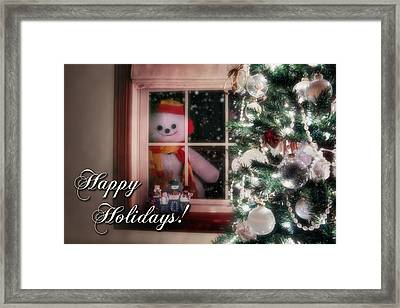 Snowman At The Window Card Framed Print by Tom Mc Nemar