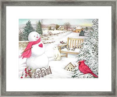 Snowman Cardinal In Winter Garden Framed Print