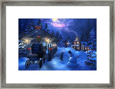 Snowman Crossing Framed Print by Joel Payne
