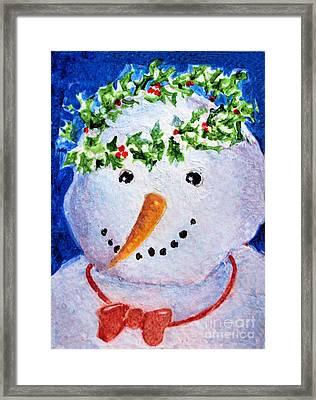 Snowman  Framed Print by Diane Ursin