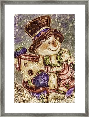 Snowman Friends Framed Print