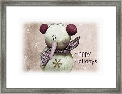 Snowman Greeting Card Framed Print by David Dehner