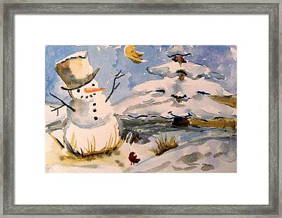 Snowman Hug Framed Print by Mindy Newman