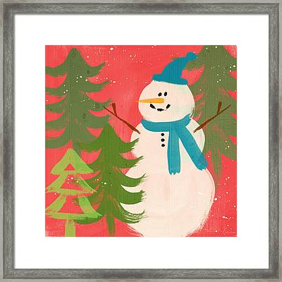 Snowman In Blue Hat- Art By Linda Woods Framed Print by Linda Woods
