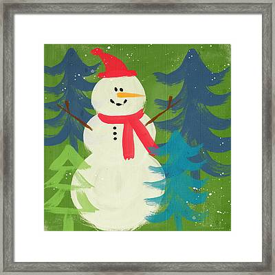 Snowman In Red Hat-art By Linda Woods Framed Print by Linda Woods