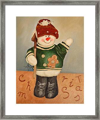 Snowman Junior Framed Print by Angeles M Pomata