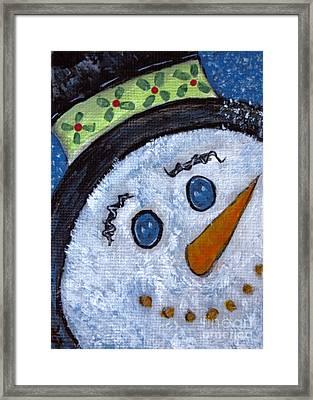 Snowman Magic On Christmas Eve Framed Print