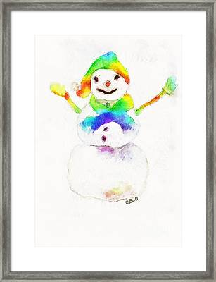 Snowman With Rainbow 1 Framed Print by Claire Bull