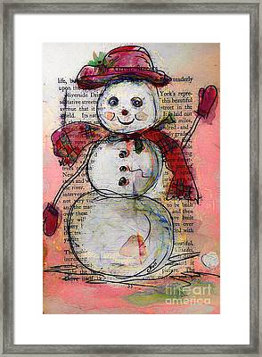 Snowman With Red Hat And Mistletoe Framed Print