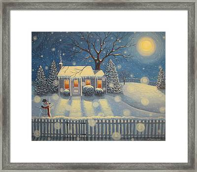 Snowman's Cottage Framed Print by Mary Charles