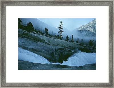 Snowmelt Thunders Down Woods Creek High Framed Print
