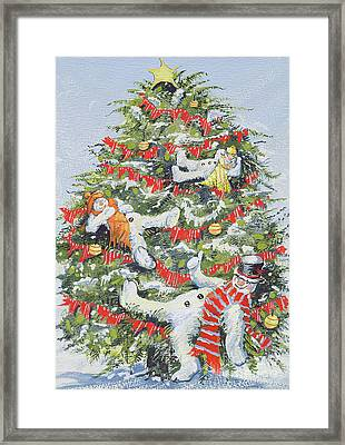 Snowmen In A Christmas Tree Framed Print