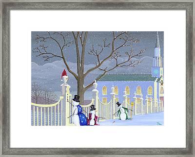 Snowmen In Vermont Framed Print by Thomas Griffin