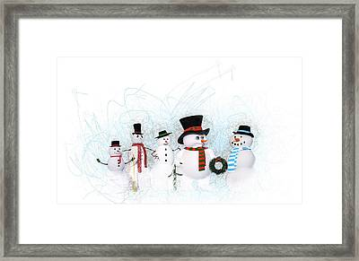 Framed Print featuring the painting Snowmen by Methune Hively