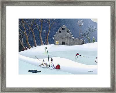 Snowmen On Hockey Pond Framed Print by Thomas Griffin