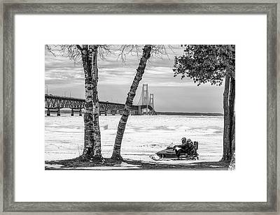 Framed Print featuring the photograph Snowmobile Michigan Black And White  by John McGraw