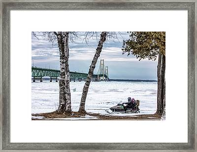 Framed Print featuring the photograph Snowmobile Michigan  by John McGraw