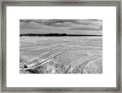 Snowmobile Tracks On China Lake Framed Print