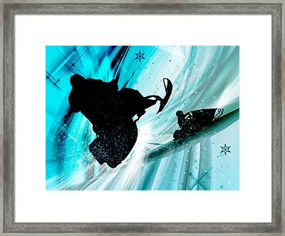 Snowmobiling On Icy Trails Framed Print by Elaine Plesser