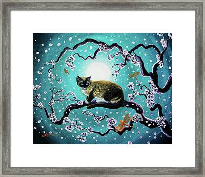 Snowshoe Cat And Dragonfly In Sakura Framed Print by Laura Iverson