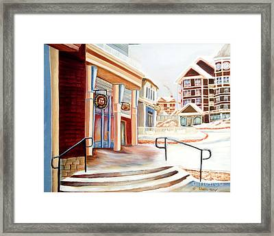 Snowshoe Village Shops Framed Print