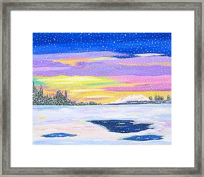 Framed Print featuring the painting Snowstorm by Phyllis Kaltenbach