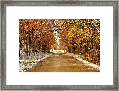 Snowy Autumn Morning In Pure Michigan Framed Print