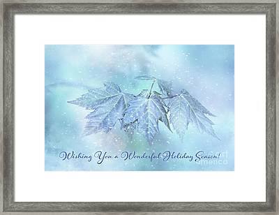 Snowy Baby Leaves Winter Holiday Card Framed Print