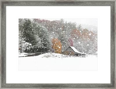 Snowy Barn Framed Print by Benanne Stiens
