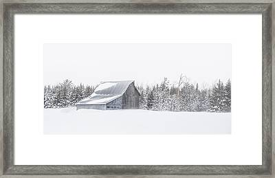 Framed Print featuring the photograph Snowy Barn by Dan Traun