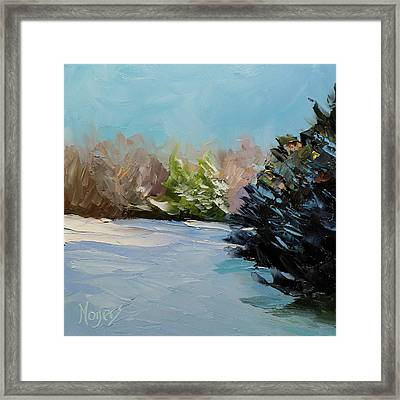 Snowy Bend Framed Print by Mike Moyers